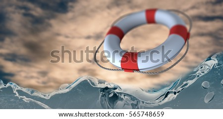 Life belt with rope over white background against cloudy sky 3d