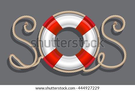 Life belt with rope sos inscription. illustration - stock photo