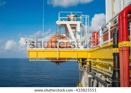 Life boat, survival craft or rescue boat at oil and gas platform at muster station for emergency situation when in fire case or abandon case to escape from risk. - stock photo