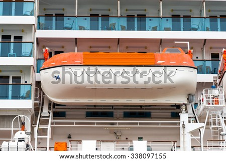 life boats on a cruise ship - stock photo