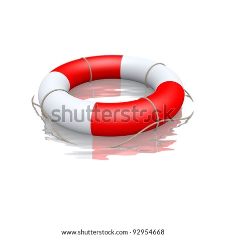 life buoy floating in water - stock photo