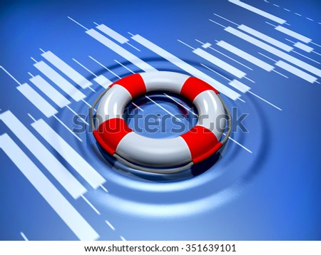 Life buoy floats on surface of screen - stock photo