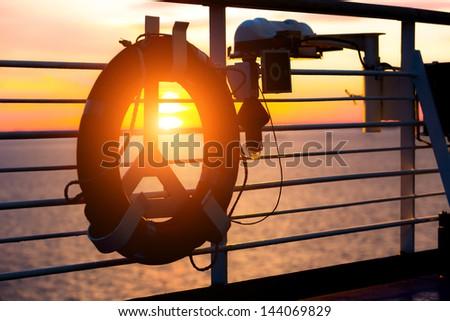 Life Buoy on a Cruise Ship - stock photo