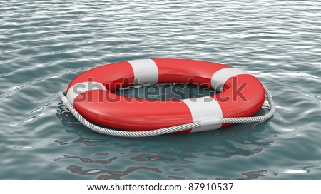 Life buoy on water - stock photo