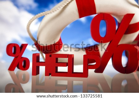 Life buoy with percent, Help in finance - stock photo