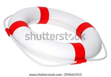 Life buoy with rope on isolated white background, side view