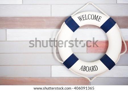 Life buoy wooden background.  - stock photo