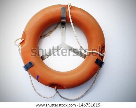 life buoys by the ship  - stock photo
