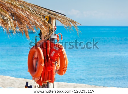 Life-buoys on the beach under palm leaves