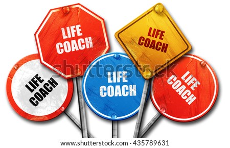 life coach, 3D rendering, rough street sign collection - stock photo