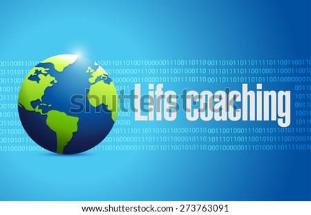 life coaching globe sign concept illustration design over blue - stock photo