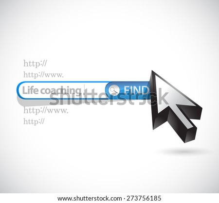life coaching search bar sign icon concept illustration design over white - stock photo