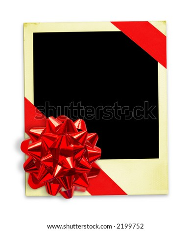 Life Events Memories. Picture Wrapped In A Gift Bow (with clipping paths for easy framing your picture and background removing if needed) - stock photo