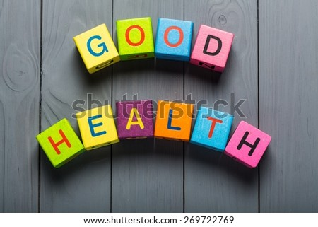 Life. Good Health direction sign on sky background - stock photo