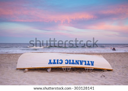 Life guard boat on the beach in Atlantic City, New Jersey.  - stock photo