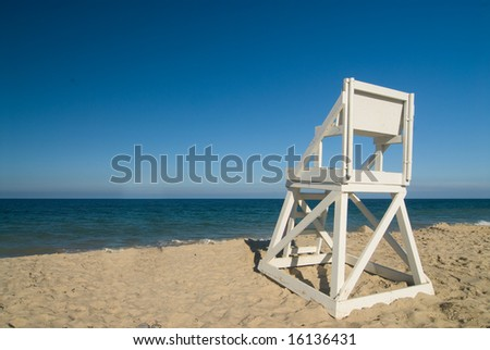 Life guard seat on a perfect beach - stock photo