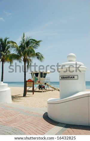Life Guard Station at Sebastian Street, Fort Lauderdale, Florida - stock photo