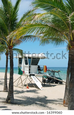 Life Guard Station in Fort Lauderdale, FLorida - stock photo