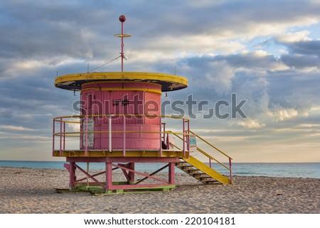 Life guard station on South Beach Miami Florida USA - stock photo