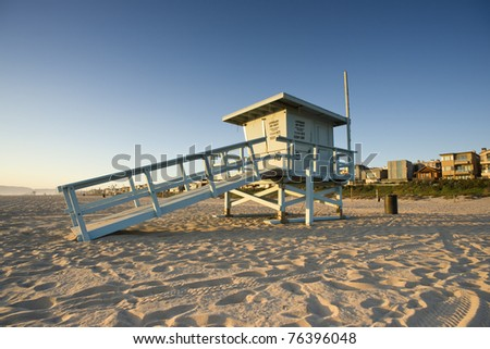 Life Guard Tower at Sunset - stock photo