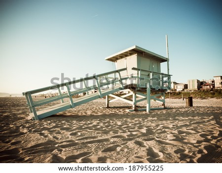Life Guard Tower at Sunset Vintage Retro Filter