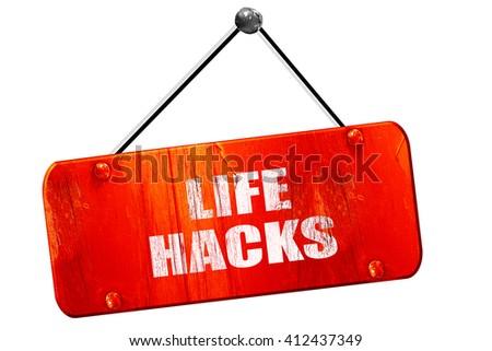 life hacks, 3D rendering, vintage old red sign - stock photo