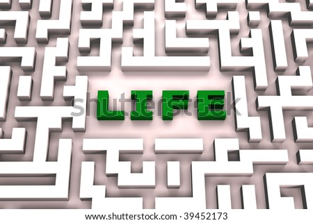 Life in a maze - 3D image - stock photo