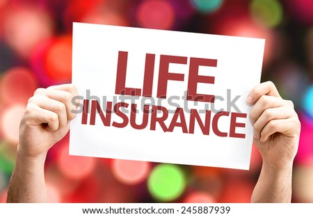 Life Insurance card with colorful background with defocused lights - stock photo