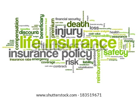 Life insurance concepts word cloud illustration. Word collage concept. - stock photo