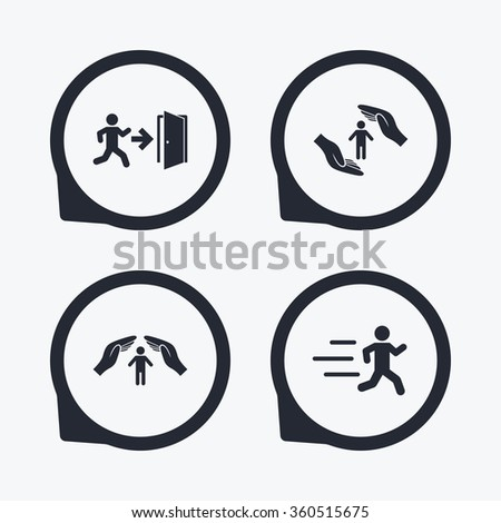 Life insurance hands protection icon. Human running symbol. Emergency exit with arrow sign. Flat icon pointers. - stock photo