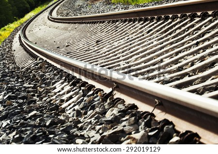 Life is a journey as a thought. Image of a curve on an empty railroad. Also image has a vintage effect.
