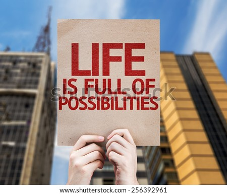 Life is Full Of Possibilities card with urban background - stock photo