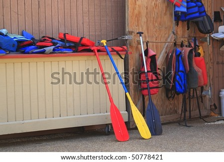 Life-jackets and oars for boat rental