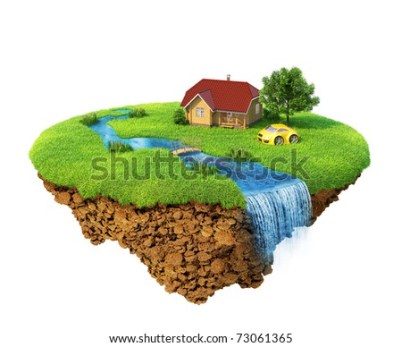 Life of a dream. Lawn with house, river, waterfall, tree and sports car. Fancy island in the air isolated. Detailed ground in the base. Concept of success and happiness, idyllic ecological lifestyle. - stock photo