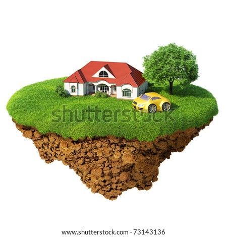 Life of a dream. Lawn with house, river, waterfall, tree and yellow sports car. Fancy island in the air isolated. Concept of success and happiness, idyllic ecological lifestyle. Series. - stock photo