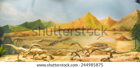 Life of the models of dinosaurs, Jurassic. - stock photo