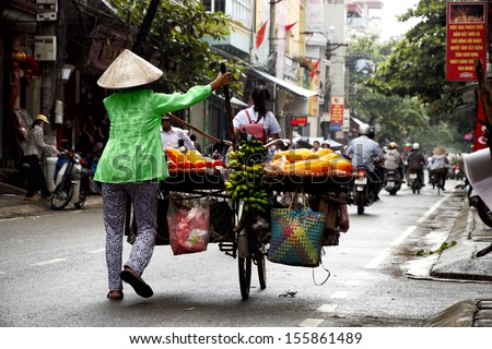 Life of vietnamese vendor in HANOI, VIETNAM  - stock photo