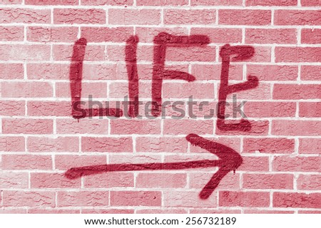 Life painted on a brick wall with red filter
