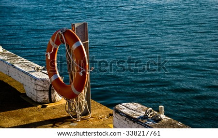 Life preserver next to water