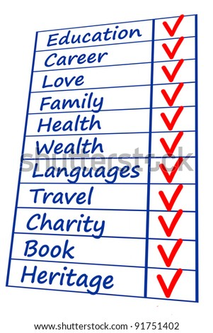 life priority checklist - stock photo