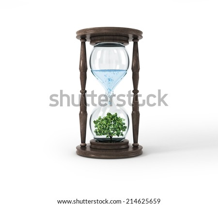 Life process of tree inside Glass clock, Isolated On White - stock photo
