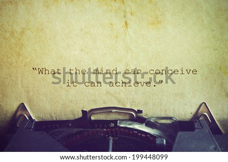 Life quote. Inspirational quote by Napoleon Hill on vintage paper background. Motivational background.