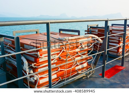 LIFE-RAFTS  ON THE FERRY BOAT  - stock photo