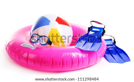 life ring, inflatable ball, flippers and mask isolated on white