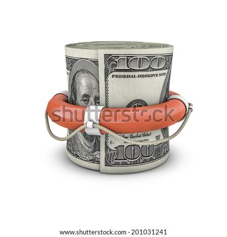 Life ring money roll dollars - stock photo