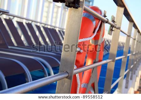 Life ring on a cruiser ship - stock photo