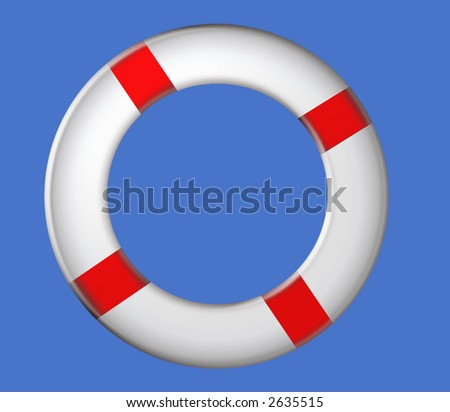 Life Ring on Blue Sky - stock photo