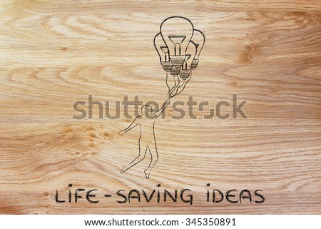 life-saving ideas: person flying by holding up to lightbulb shaped balloons - stock photo