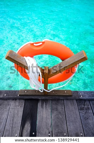Life saving rubber ring - stock photo