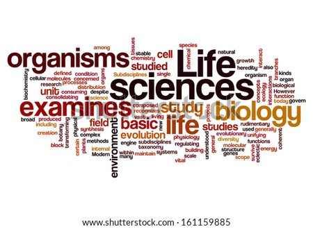 life sciences biology concept background on white - stock photo